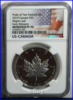 2019 PRIDE OF TWO NATIONS LIMITED EDITION 2 COIN SET, NGC PF70 ER Ready to ship