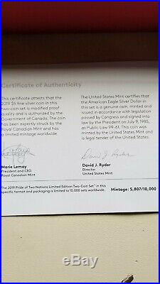 2019 Pride of Two Nations 2 Coin Silver Set-Canada Set NGC PF70 FDI- VIP Red Box