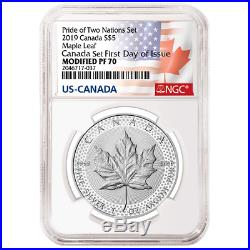 2019 Pride of Two Nations 2pc. Set NGC PF70 FDI Flags Label Canada Set