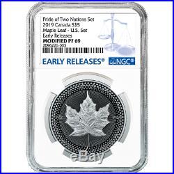 2019 Pride of Two Nations 2pc. Set U. S. Set NGC PF69 Blue ER Label