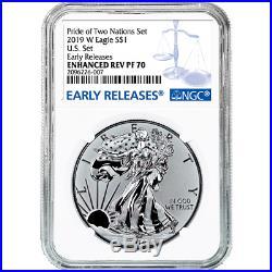 2019 Pride of Two Nations 2pc. Set U. S. Set NGC PF70 Blue ER Label