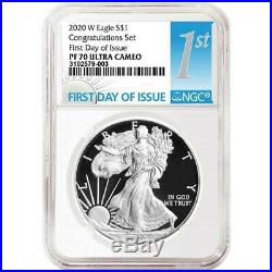 2020 W American Silver Eagle Congratulation Set Ngc Pf 70 First Day Issue 79-003