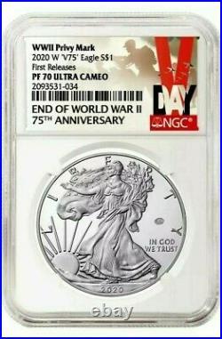 2020 W END of WORLD WAR II 75th ANNIVERSARY AMERICAN EAGLE V75 NGC PF70 pre sale