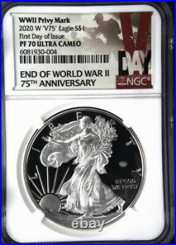2020 W End Of World War II V75 American Silver Eagle Ngc Pf70 Fdoi In Stock