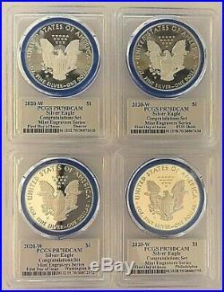 2020-w Mint Engraver Congratulations Set Silver Eagle-pcgs Pr70-fdoi-mercanti