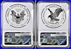 2021 Reverse Proof Silver Eagle 2 Coin Design Set, Ngc Rev Pf 70 Fr, Eagle/mtn