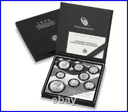 8 Coin Set 2020 S US Mint Limited Edition Silver Proof Coin Set OGP