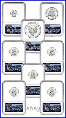 8 Coin Set 2020S US Limited Edition Silver Proof NGC PF70 UC FDI Trolley Label