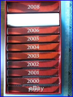 LOT of 10 SILVER PROOF SETS 1999-2008 ORIGINAL PACKAGING CERTIFICATE in RED BOX
