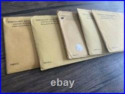Lot of (5) 1960-64 Silver US Mint Proof Sets in Sealed/Unopened Envelopes in OGP