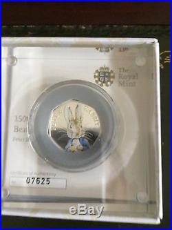 Peter Rabbit 2016 FULL SET of 4. Beatrix Potter colour silver proof 50p. Rare