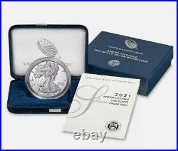 Presale 2021-W Proof $1 American Silver Eagle Box OGP & COA Est Ship 3/01