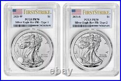 Presale American Eagle 2021 W & S Silver Reverse Proof Designer Set PCGS PR70