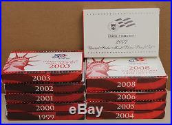 Proof sets Silver 1999 2008, 10 complete sets 109 coins US MINT Run lot