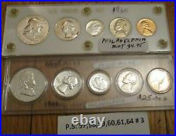 Silver Proof Set 57 58 59 60 61 64 6 Set 90% Silver as shown