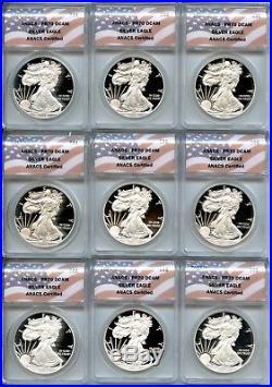 U. S. American Silver Eagle Proof 70 DEEP CAMEO ANACS Complete Set 1986 2018