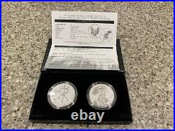 US Mint 2021 American Eagle One Ounce Silver Reverse Proof Two-Coin Set (NEW)
