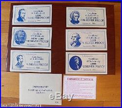 Washington Mint Silver Bar Proofs Currency. 999 $1, $2, $5, $10, $50, $100. 28 oz set