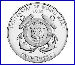 World War I Centennial 2018 Silver Dollar and Coast Guard Medal Set
